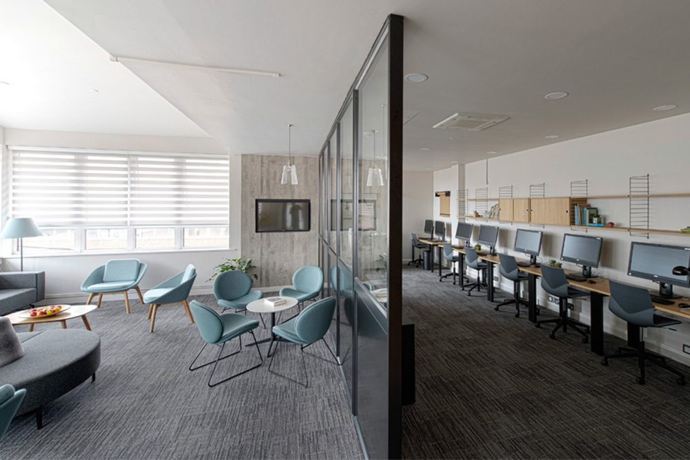 Open plan office design, Nikkirees.com, Workplace interior design, Office fit-out, Interior designer Wimbledon London