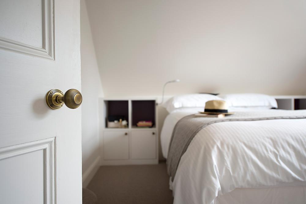 Loft bedroom, built-in headboard, teenagers bedroom Nikkirees.com, wimbledon interior designer, london and surrey interior design