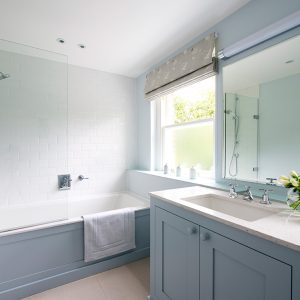Traditional Bathroom vanity unit, small bathroom, blue bathroom, Nikkirees.com, wimbledon interior designer, london and surrey interior design