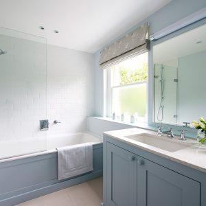 Traditional Bathroom vanity unit, small bathroom, blue bathroom, Nikkirees.com, wimbledon interior designer, london and surrey interior design
