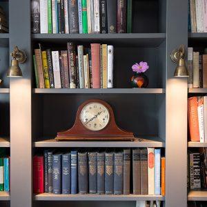 study interior, built-in book shelves, Nikkirees.com, wimbledon interior designer, london and surrey interior design