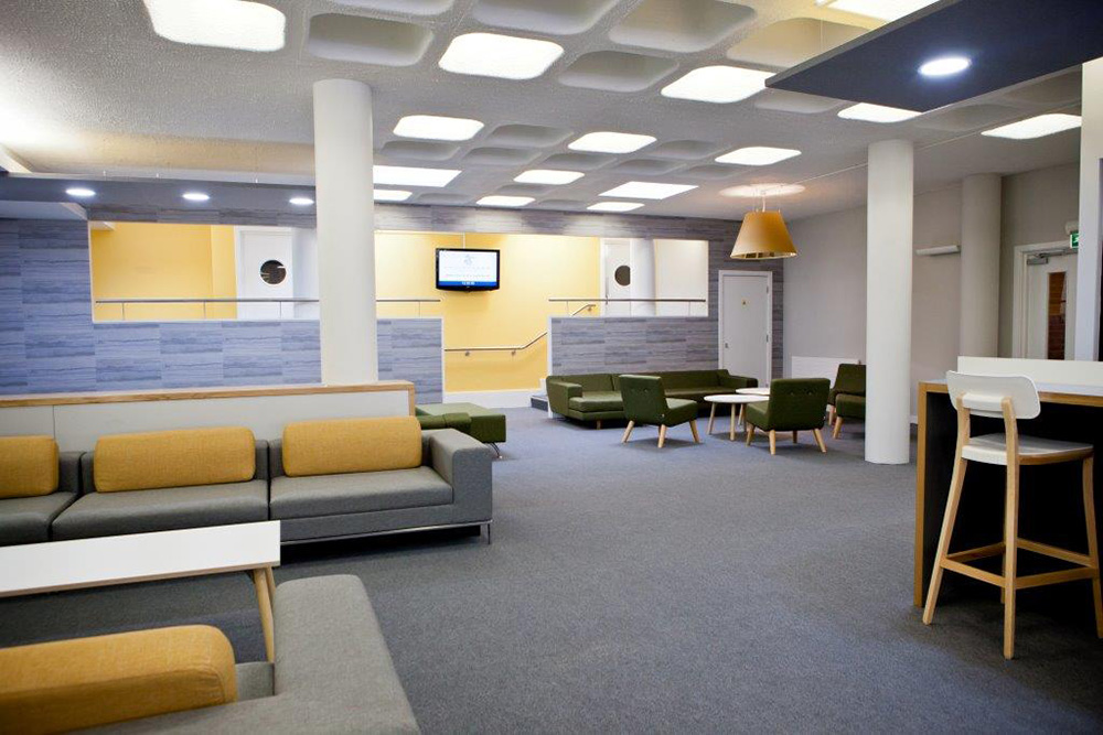 sixth form common room interior Nikkirees.com, school interior design, Wimbledon interior designer office breakout design