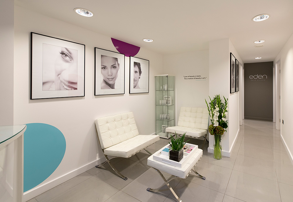 Toni and Guy, Eden skin clinic reception, nikkirees.com Beauty salon, skin clinic, Interior designer London