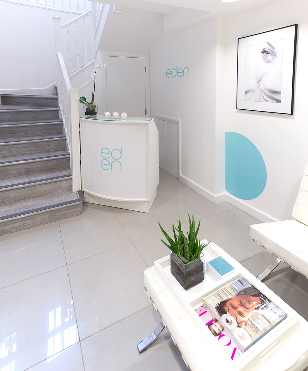 Eden Skin Clinic, reception design , Beauty salon, Nikkirees.com, media spa interior design, workspace consultancy, Interior designer Wimbledon London