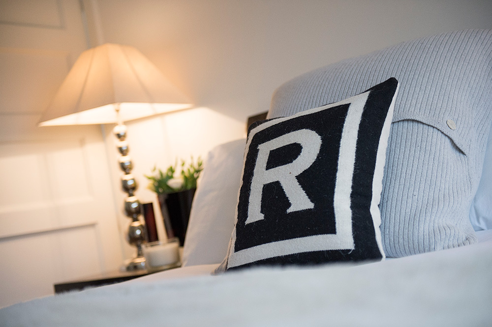 Jonathan Adler cushion, Bedroom lighting, Interior styling, Wimbledon Interior Designer, Nikkirees.com