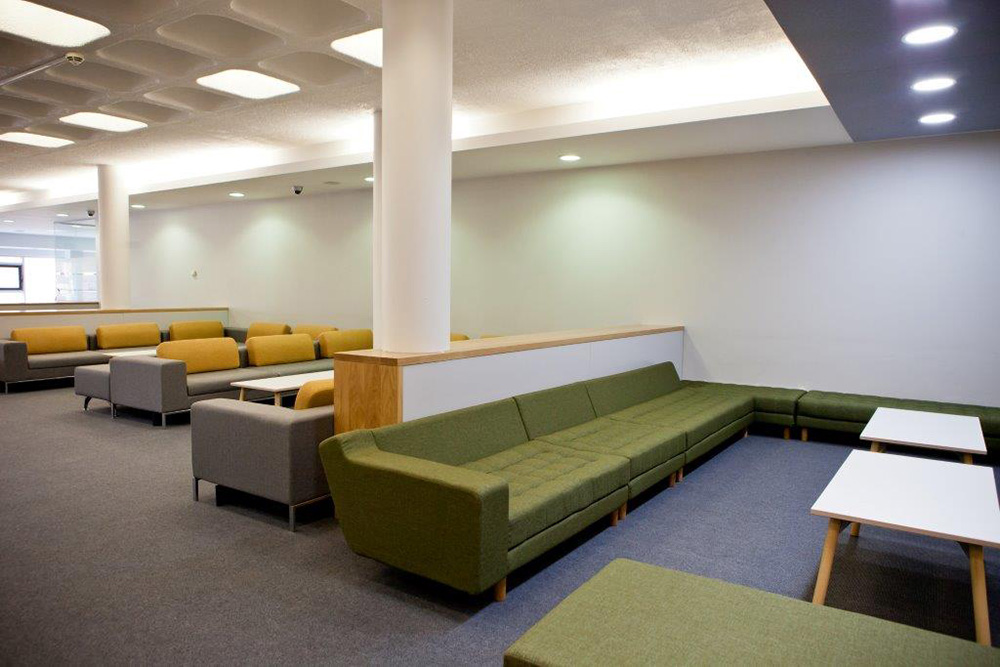 Office design breakout space, Nikkirees.com, Office fit-out, Workplace furniture, Kings college school sixth form center