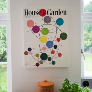 kitchen artwork, House and garden print, Ian Mankin blind, Nikki Rees.com interior designer Wimbledon london surrey