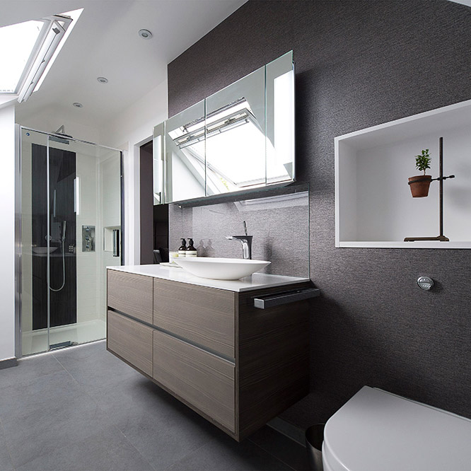 bathroom storage, Nikkirees.com Wimbledon interior designer bathroom design, ensuite shower room, loft conversion